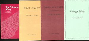 Front covers of four anthologies, all of which are plain except for the titles