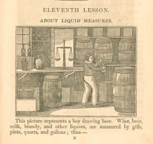 Engraving of a boy drawing beer from a barrel with a list of the different measurements wine, beer and brandy are measured in.