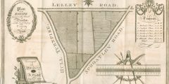 Monochrome plan of a triangular piece of land surrounded by roads, with gates and trees marked, along with the engraver's name drawn on a scroll, and a scale bar embellished by surveying equipment