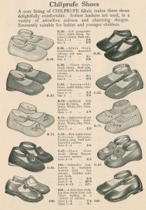 Page from a catalogue showing drawings of the styles of shoes with the available sizes and prices.