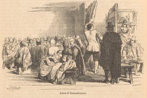 Engraving showing arrest of 17th century nonconformists