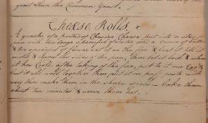 Handwritten recipe for Cheese Rolls