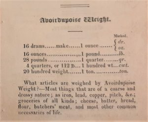 Printed table of comparisons for avoirdupoise weights and a list of items weighed by them.