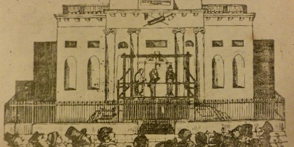 A Public Hanging at the County Hall, Nottingham, taken from Wilson's Gallows Hill Remembrancer.