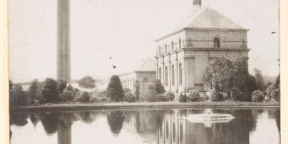 Photograph of the exterior of the Engine House and cooling pond, Papplewick Pumping Station, early 20th century (Ref: R/HR/1/8/1)
