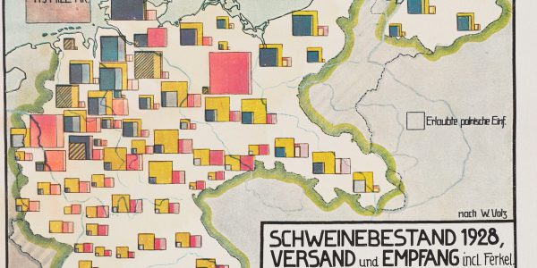 Map of the East part of Germany with coloured squares of differnt colours and sizes to represent the extent of the pig trade. in 1928