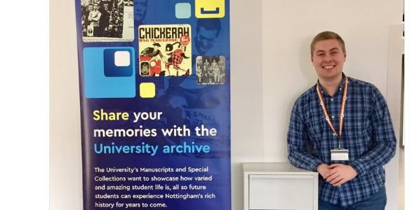 Photo of SU Communities Officer with the Archive Collecting Box