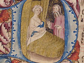 The Virgin Mary nursing Jesus, in the Wollaton Antiphonal (Nottingham, University of Nottingham MS 250).