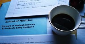 Coffee and workbook