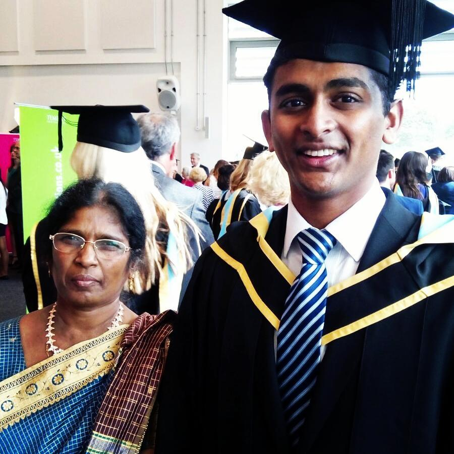 Dr Arjunaa Wimalathasan with his mother at his graduation ceremony