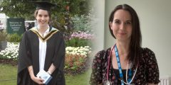 Julie Carson at her graduation and as a working doctor