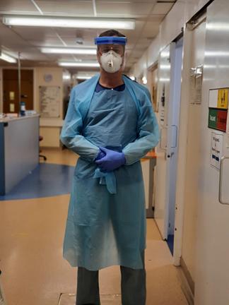 Professor Dominick Shaw wearing full PPE