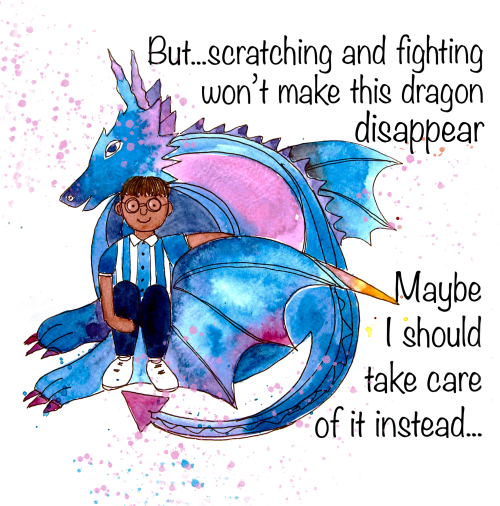 A child and their dragon talking about taking care of it