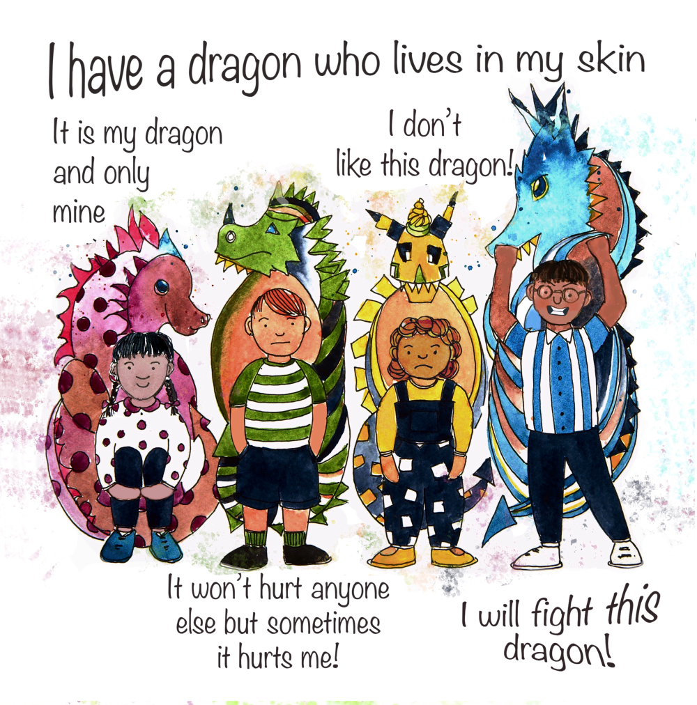 Four children and their dragons