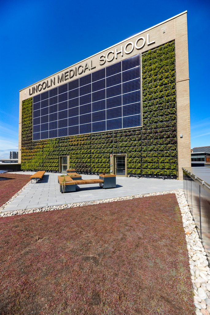 Living green wall and rooftop terrace of Lincoln Medical School