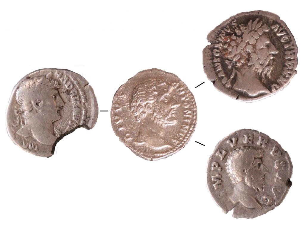 Denarii of four emperors. Left to Right: Hadrian, Antoninus Pius, Marcus Aurelius (above) and Lucius Verus (below).