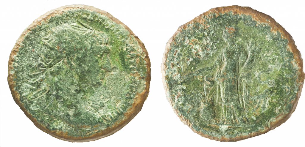 AE dupondius of Trajan. Obv. has radiate, draped bust of Trajan right, [IMP CAES NERVAE TRAIANO AV]G GER DAC P M TR P COS V P P. Rev. has Abundantia standing with cornucopia and wheat, over modius., SC in fields, [S P Q R OPTIMO PRINCIPI S C].  27mm, 10.96g, 6 o'clock.
