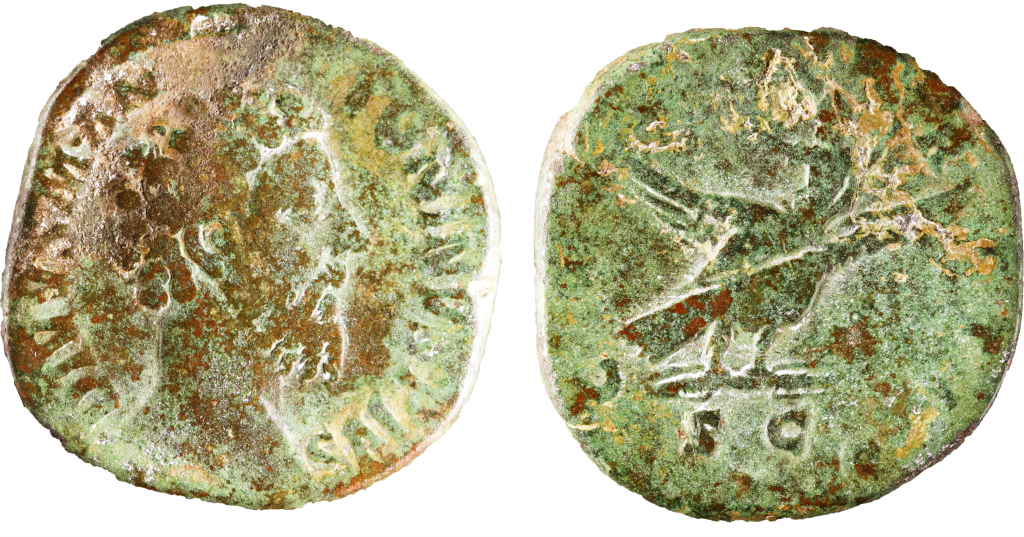 AE sestertius issued under Commodus. Obverse has bare head of Marcus Aurelius right, DIVVUS M ANTONINVS PIVS. Reverse has Marcus Aurelius (with beard indicated) riding on back of eagle heavenward. CONSECRATIO / SC. 21.81g, 30mm, 6 o'clock.   Coin courtesy of the University of Nottingham Museum.