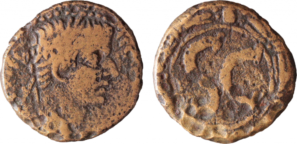 AE24 of Tiberius, from Antioch. Obverse has laureate head r. Reverse has SC within wreath. 2mm, 14.09g, 12 o'clock.