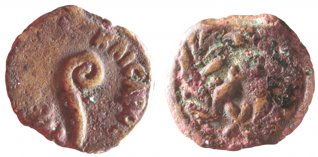 AE prutah of Pontius Pilate. Obverse has lituus, around which TIBEPIOY KAICAPOC.  Reverse has wreath with date mark inside, sadly illegible.