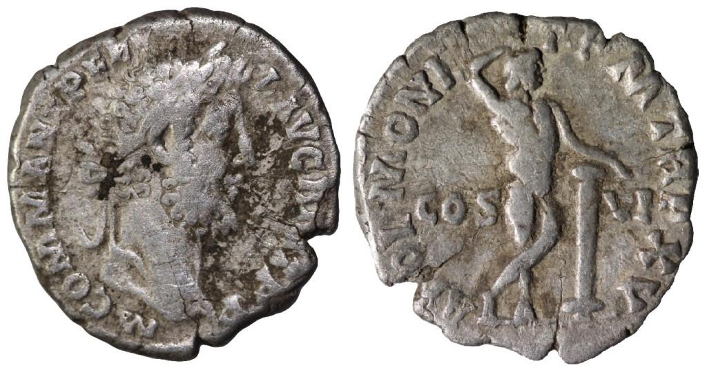 AR denarius of Commodus. Obverse has