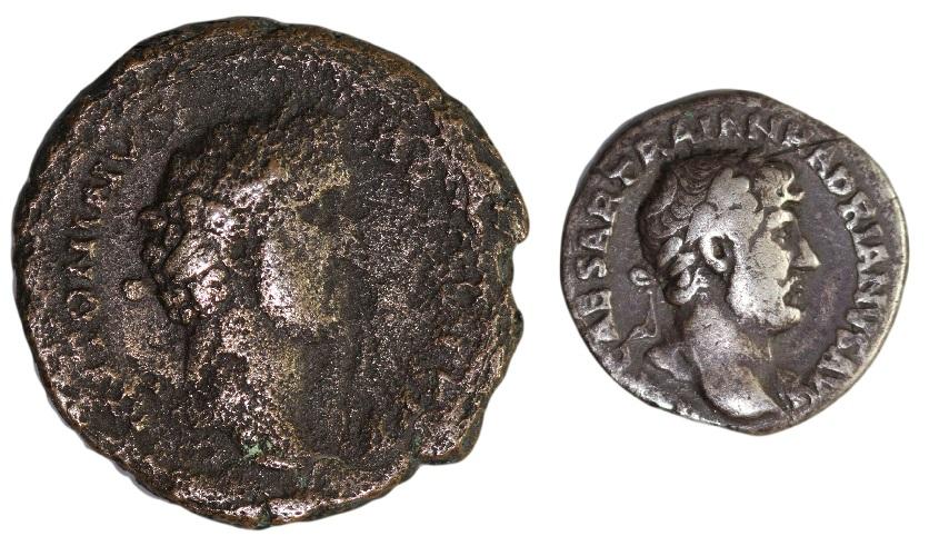 Sestertius of Antoninus Pius and denarius of Hadrian.