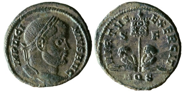 AE Follis of Licinius. Obverse has laureate, draped head of the emperor facing right, IMP LICI – NIVS AVG. Reverse has two bound, seated captives flanking a standard bearing the legend VOT XX, VIRTVS EXERCIT / S F, AQS in ex. 2.58g, 19mm, 12 o'clock. RIC VII Aquileia 50 var. Numismatic information by Rob Stone and Olivia Webster