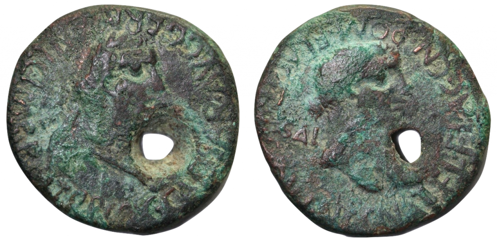 AE as of Caligula. Obverse has laureate head of the emperor r., C CAESAR AVG GERMANIC IMP P M TR P COS. Reverse has female head r. (variously identified), CN ATEL FLAC CN POM FLAC II VIR Q V I N C / SAL AVG. Small hole through the coin. 28.5mm, 13.48g, 4 o'clock.