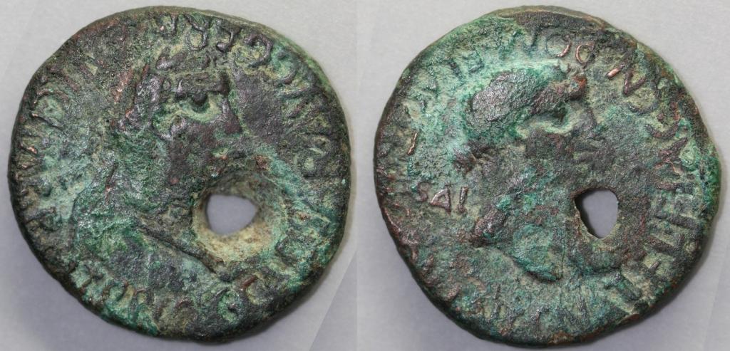 AE as of Caligula. Obverse has laureate head of the emperor r., C CAESAR AVG GERMANIC IMP P M TR P COS. Reverse has female head r. (variously identified), CN ATEL FLAC CN POM FLAC II VIR Q V I N C / SAL AVG. Small hole through the coin. 28.5mm, 13.48g, 4 o'clock.