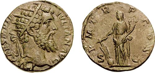 AR dupondius of Didius Julianus. Obverse has radiate head r., IMP CAES M DID IVLIAN AVG. Reverse has Fortuna standing with rudder on globe, cornucopia in left. P M TR P COS, S C. Image attribution: Classical Numismatic Group, Inc. http://www.cngcoins.com.