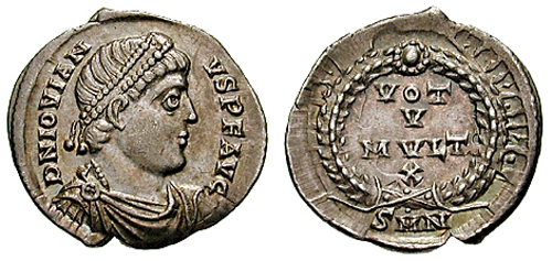 AR siliqua of Jovian. Obverse has diademed, draped bust r., D N IOVIANVS PF AVG. Reverse has wreath, VOT V MVLT X, SMN in ex. 12 o'clock, 2.2g. Image courtesy CNG coins (http://www.cngcoins.com)