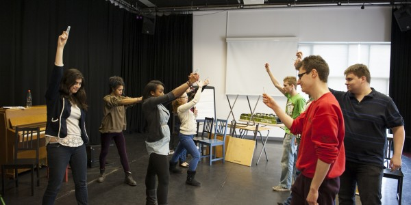 Cast rehearsal for Lysistrata