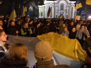 Spontaneous pro-unity rally outside the Russian Orthodox cathedral in Donetsk 4 March 2014