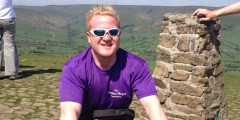 Will at Mam Tor in the Peak District during training for his 3 Peaks Challenge