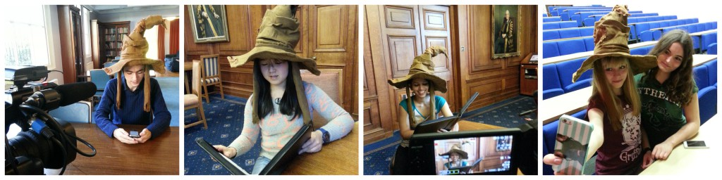 Some of our Harry Potter fans filming in the Sorting Hat