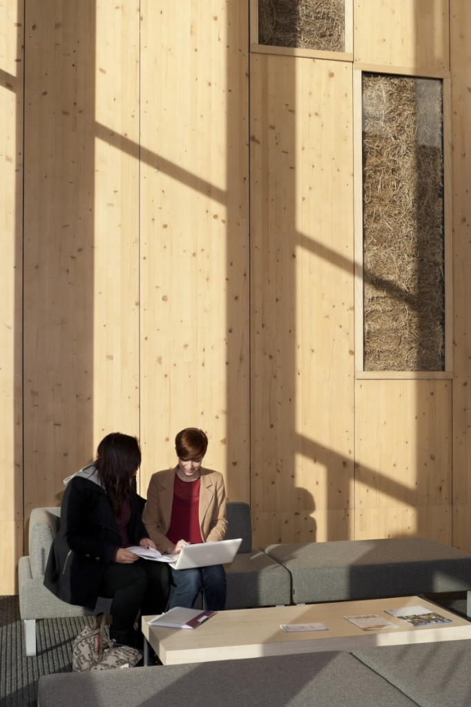 Students sitting in the Gateway Building, with glass panels showing straw infill in the background