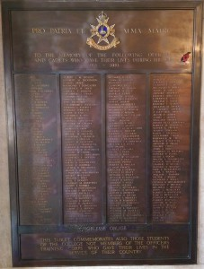 University's WW1 memorial plaque