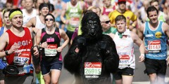 London, UK - April 21, 2013: Participant in the London Marathon wearing funny costume. The London Marathon is next to New York, Berlin, Chicago and Boston to the World Marathon Majors, the Champions League in the marathon.