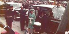 Queen Elizabeth II arriving to officially open the Queen's Medical Centre 1977