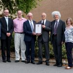 Neil Barnes and Professor Martyn Poliakoff with Professor John Holmes and guests.