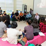 Sir David speaking to student leaders at Student's Association building, University of Nottingham Malaysia Campus.