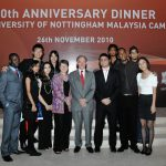 With Professor Christine Ennew and students from Malaysia campus at the alumni laureate dinner in 2010