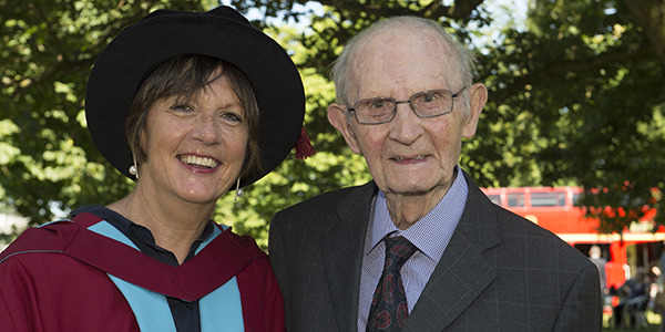 Jane Horne and her 99-year-old father Joe Tunney on her graduation day