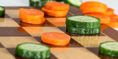 Vegetables on chessboard
