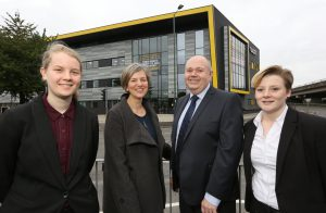 MP071016AH1 Nottingham Post please use code NOAH20161007C1. Lillian Greenwood MP, visit to NUAST ahead of the Nottingham in Parliament Day. Pictured LtR; Katy Walker 16, Lillian Greenwood MP, Robert White (Principal), Paige Hancox 18. Picture by Andrew Hallsworth, Marlow Photographic.