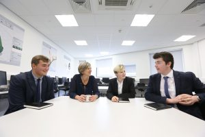 MP071016AH1 Nottingham Post please use code NOAH20161007C1. Lillian Greenwood MP, visit to NUAST ahead of the Nottingham in Parliament Day. Pictured LtR; William Cole 17, Lillian Greenwood MP, Paige Hancox 18, Michael Leek 17. Picture by Andrew Hallsworth, Marlow Photographic.