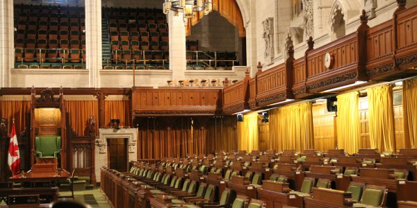 Interior of House of Commons of Canadian Parliament in Ottawa, Canada