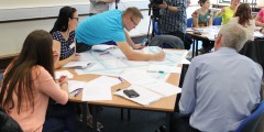 Maria Middleton, Adam Street and David Charnock from Nottingham working with Yasmin Mowais from BCU