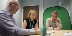 Mike Taylor, Richard Windle and Fern Todhunter working on the RLO design notes