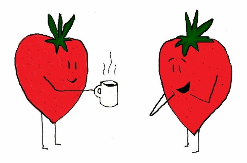 Strawberries having a cup of tea